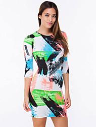 Women's  Stylish Round Neck Three Quarter Sleeve Colorful Print Dress