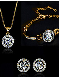 May Polly  Popular Zircon Earrings Bracelet Necklace Set