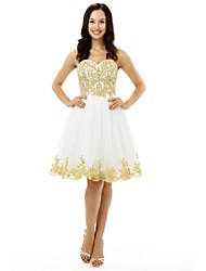 A-Line Sweetheart Knee Length Tulle Cocktail Party Homecoming Dress with Beading Appliques Crystal Detailing Sequins