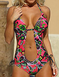 Women's Vintage Style Colorful Flowers Print Push Up Padded Swimwear