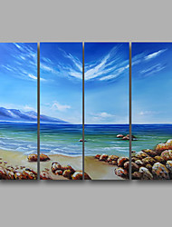 "Ready to Hang Stretched Hand-Painted Oil Painting 48""x36"" Canvas Wall Art Modern Seascape Summer Beach Waves"