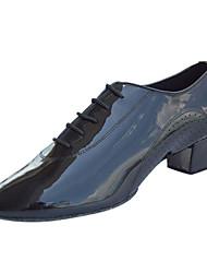 Non Customizable Men's / Kids' Dance Shoes Latin / Swing Shoes / Salsa / Samba Leather / Patent Leather Low Heel Black