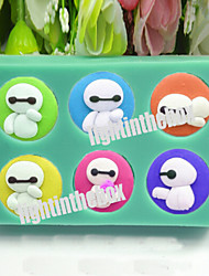 6 in 1 Cute White Robot DIY Silicone Chocolate Pudding Sugar Cake Mold