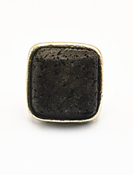 Vintage Look Antique Silver Square Lava Rock Volcano Stone Adjustable Free Size Ring(1PC)