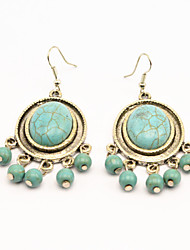 Vintage Look Antique Silver Plated Stone Oval Turquoise Bead Alloy Dangle Drop Earring(1Pair)