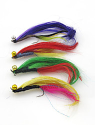 Anmnka  4 Pcs Fly fishing Random Colors Lure Streamer Trout  Salmon Bionic Lure with Single hook Lures Long Tail bait