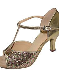 Women's / Kids' Dance Shoes Latin / Swing /Salsa / Samba/Paillette Cuban HeelBlack/Red/ Silver/