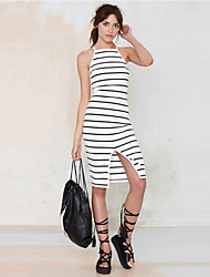 Women's Sexy / Casual Striped A Line Dress , Strap Knee-length Polyester