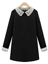 Damen Kleid - Übergrößen Übergröße / Sexy Patchwork Mini Polyester Hemdkragen