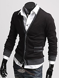 Men's Casual/Daily Regular Cardigan,Solid Long Sleeve Cotton
