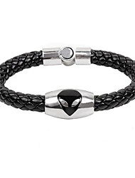 Men's Cow Leather Man Titanium Steel  Magnet Buckle Snake Weave Bracelet