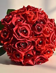 27 Heads Silk Wedding Flowers Crystal Pins Rose Bouquet