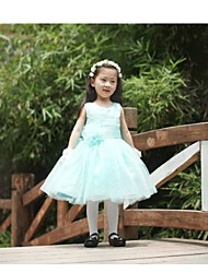 ELLIE'S BRIDAL Ball Gown Knee-length Flower Girl Dress - Tulle Jewel with Bow(s) Flower(s) Sash / Ribbon