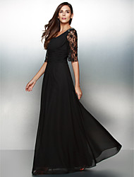 TS Couture Formal Evening Dress - See Through A-line Scoop Floor-length Chiffon Lace with Lace