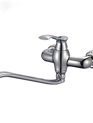 KALUD Wall Mounted  Chrome Single Handle Finished Solid Brass Kitchen Faucet