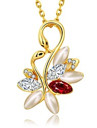 Fashion Diamond Double Swan Opal Jewel Gold-Plated Pendant Necklace(Golden,Rose Gold)(1PC)