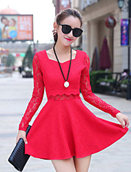 Spring Fashion Women Slim Sexy Lace Waist Hollowing Square Neck Long Sleeve  Party / Work Dress