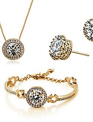 High Quality Crystal Zircon Round Pendant Jewelry Set Necklace Earring (Assorted Color)