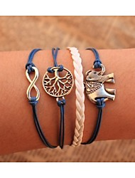 leather Charm BraceletsUnisex Multilayer Leather Bracelet  Elephant & life Tree inspirational bracelets Christmas Gifts