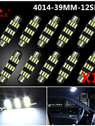 10X NEW White 39mm 12 4014 SMD Festoon Dome Map Interior LED Light Lamp DE3175 3022 12V