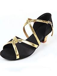 Non Customizable Kids' Dance Shoes Latin / Modern Satin / Sparkling Glitter Chunky Heel Black / Blue / Red / Fuchsia