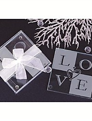 Heart-Shaped Glass Coasters(set of 2) Wedding Favors