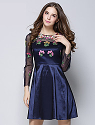 Cocktail Party Dress - Ink Blue Ball Gown Jewel Knee-length Cotton / Polyester