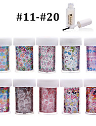 New 100Designs 10pcsNail Art Transfer Foils Stickers Paper+1pcs Nail Foil Glue (from #11 to #20)