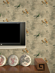 New Rainbow™ Floral Wallpaper Classical Wall Covering , PVC/Vinyl Bird Background Wallpaper American Country