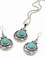 Vintage Look Antique Silver Crystal Turquoise Stone Small Necklace Earring Jewelry Set(1Set)