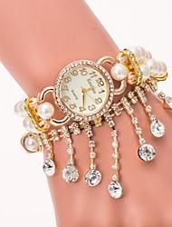 Femme Montre Tendance Bracelet de Montre Quartz Imitation de diamant Alliage Bande Perles ElégantesBlanc Bleu Orange Marron Gris Doré