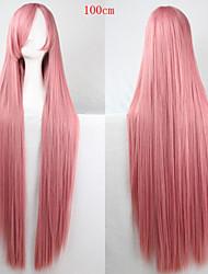Fashion Color Cartoon Wig 100 CM  Smoke Pink Long Straight Hair Wigs