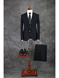 Suits Tailored Fit Notch Single Breasted Two-buttons Cotton Blend Checkered / Gingham 2 Pieces Black Straight Piped Double (Two) Black