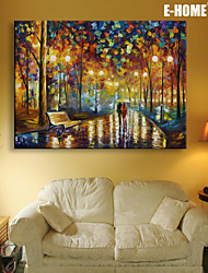 E-HOME® Stretched LED Canvas Print Art Rainy Night Trails LED Flashing Optical Fiber Print One Pcs