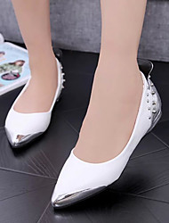 Women's Shoes Suede Flat Heel Pointed Toe Flats Outdoor / Office & Career / Dress / Casual Black / White / Silver