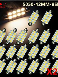 20 x 41 milímetros quente branco 5050 8smd festão cúpula mapa interior lâmpadas led de3423 6418