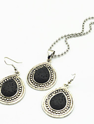 Vintage Look Antique Silver Water Drop Lava Rock Volcano Small Necklace Earring Jewelry Set(1Set)