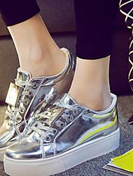 Scarpe Donna - Sneakers alla moda - Tempo libero / Casual - Plateau / Comoda - Plateau - Finta pelle - Nero / Bianco / Argento
