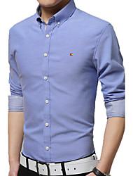 Men's Long Sleeve Shirt , Cotton Casual / Work / Formal / Plus Sizes Print / Striped / Plaids & Checks / Pure