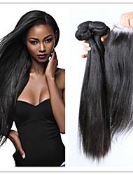 4pcs / lot feixes retos virgens brasileiras tecer cabelo com top encerramento rendas baratas virgens extensões de cabelo humano naturais