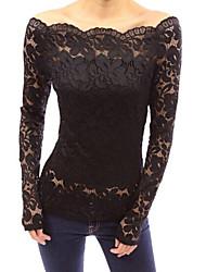 Women's Vogue Lace Bateau Long Sleeve Hollow Out Lace T-shirt