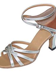 Non Customizable Women's Dance Shoes Latin/ Swing /Salsa /Samba  /Leatherette /Fabric Chunky HeelBlack/ Brown/ Silver/