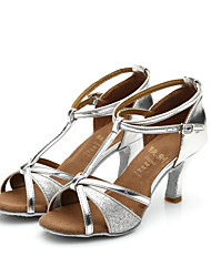 Women's Girl's Sandals Salsa / Samba/Latin Dance Shoes Satin / Sparkling Glitter Heel (More Color) Customizable
