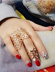 Lady's Fashion Vintage Hollow Out Inlay Diamond Timbo Alloy  Rings