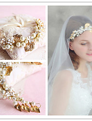 Golden Leaf Full-Pearl Flower Hair Forehead Jewelry Fascinators for Wedding Party Decoration