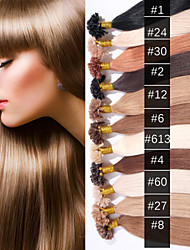 EVET Malaysian Nail Tip Hair Unprocessed Virgin Human Hair U Tip Hair Extensions 0.5G/Strand 100Strands/Lot