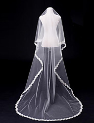 Wedding Veil One-tier Blusher Veils Chapel Veils Cathedral Veils Lace Applique Edge Tulle White Ivory