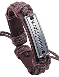 Men's Leather Weave Adjustable Bracelet with World Peace