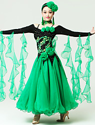 Ballroom Dance Dresses Women's Performance Spandex / Tulle Crystals/Rhinestones / Flower(s) / Sequins 2 Pieces Long Sleeve HighNeckwear /