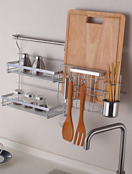 ChuYuWuXian Kitchen Utensil Organiser Hanger Tool Spice Rack Wall Mounted Chrome Finished Steel Rack K4 60cm